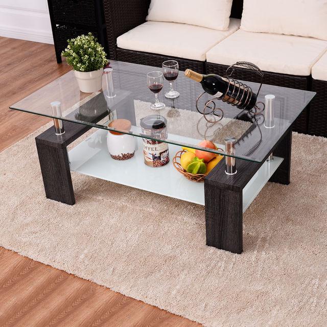 Giantex Rectangular Home Tempered Glass Coffee Table With Shelf Modern Wood  Living Room Furniture HW54586BK