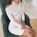 New Arrival 2016 Sexy Casual Slim Fit Vestido de Malha das Mulheres Moda Gola Alta Manga Longa Noite de Festa Vestido Vestido de Camisola vestido