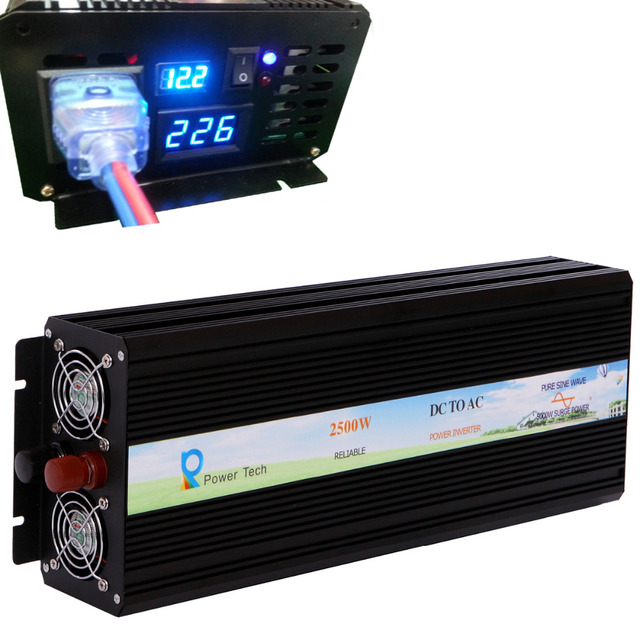 Home Inverter 2500W 24V 220V Off Grid DC AC Converter Transformer Pure Sine Wave Solar Power Supply Car Power Inverter Generator