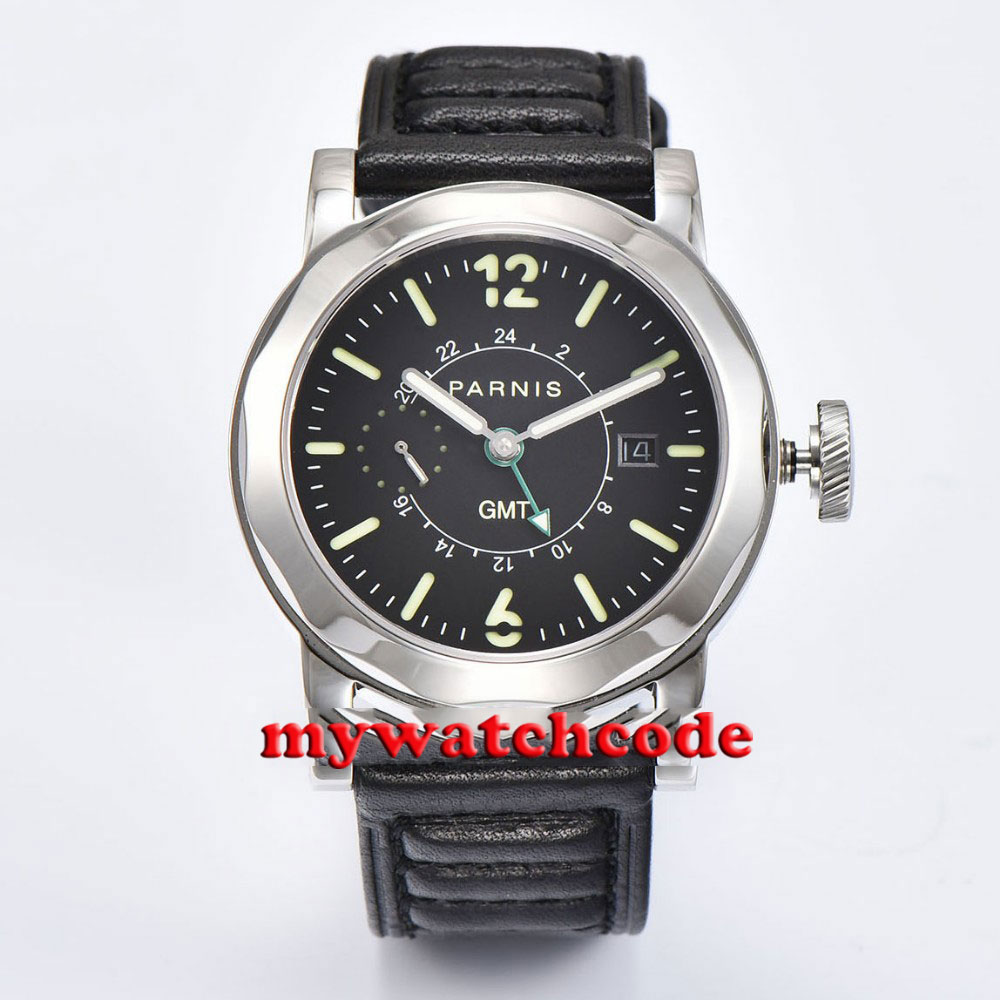 Polisehd 44mm Parnis black sandwich dial GMT black leather strap Sapphire glass date window Automatic Mens Watch P707