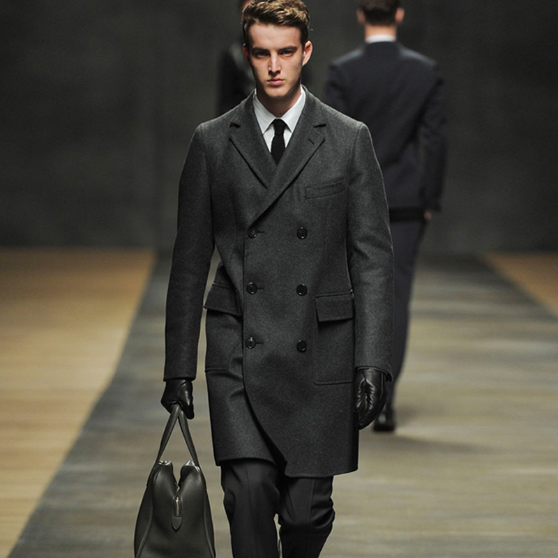 Tailor-made Wool coat Autumn and winter catwalk men 's wool coat long cashmere coat windbreaker British suit collar coat men