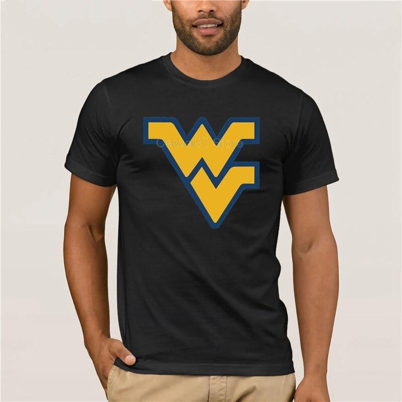 Fashion Mens T Shirt New fashion trend wvu west virginia white Fashion summer 100% Cotton Men's Cool Short-Sleeve T-Shirt