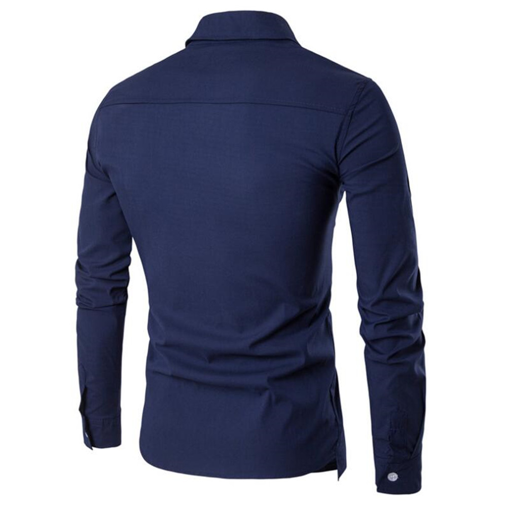 Image 2 - Elegant Man Blue Shirt Gentleman Dinner Party Shirts Long Sleeve Novelty Placket Male Blouse Tide Streetwear 2019 New Boy Tops-in Tuxedo Shirts from Men's Clothing