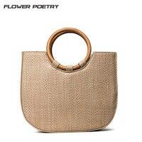 2017 Ring Wooden Handle Beach Bag Fashion Casual Tote Handmade Straw Bag Female Messenger Bag Ladies Cross Body Bags Handbag