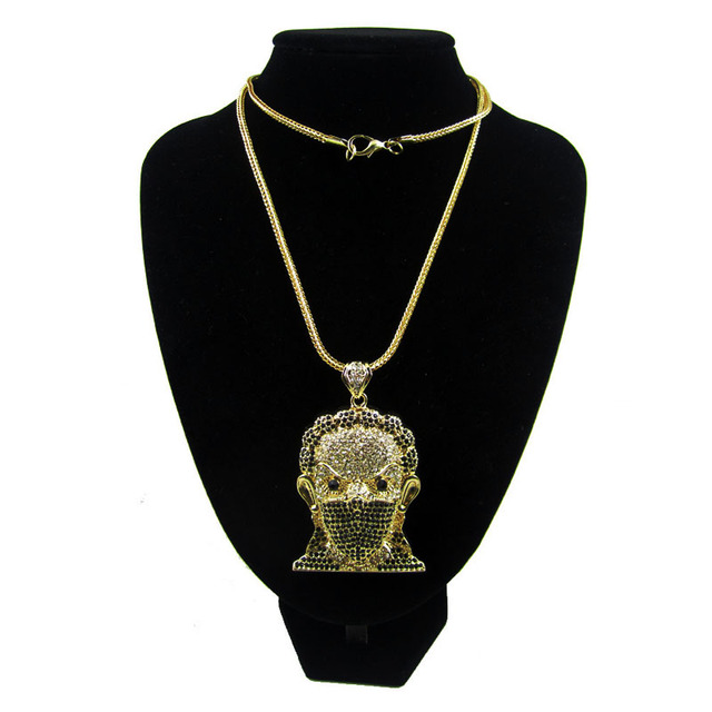 Fully Rhinestones Headcounts gangster hip hop bling pendant necklace Zinc Alloy Big Pendant Men's Dress jewelry with long chain