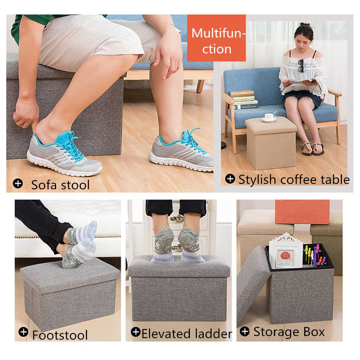 Folding Storage Stool Chairs Lounge Shoes bench Footstool Multifunction Storage Box Organizer Small Furniture Home Decoration