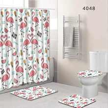 Set Home Decor Toilet Bathroom Rug + Lid Toilet Cover + Bath Mat & Mildew-proof Waterproof Shower Curtains 180cm(China)