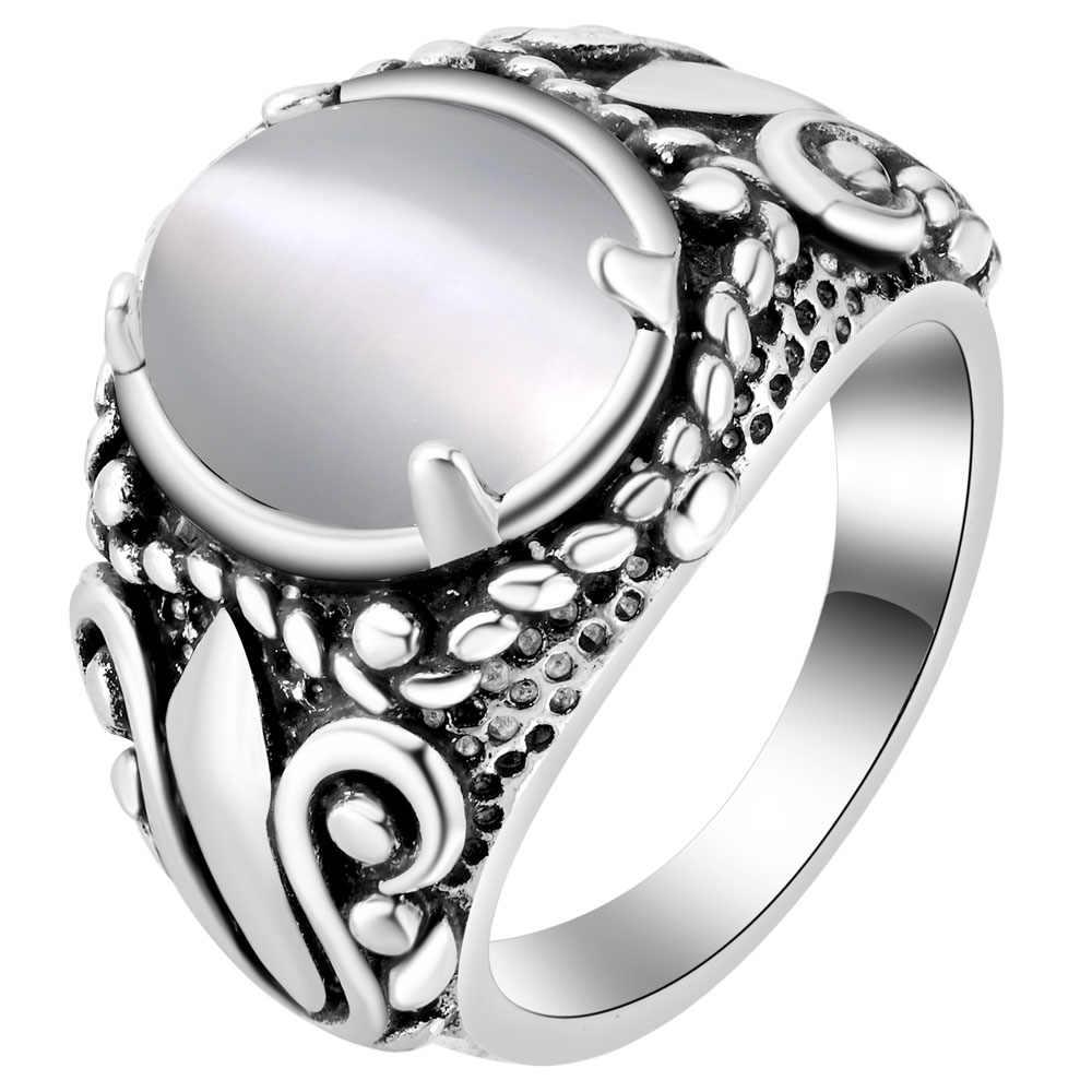 Mạ Bạc Mạ Lớn Trắng Đỏ Xanh Lá Xanh Dương Mô Phỏng Đá Quý Cho Nữ, Nhẫn Nữ Trang Phục Trang Sức Nhẫn Size 6 7 8 9
