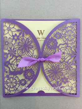 50pcs/lot free shipping laser cut flowers design paper wedding invitation cards text customized paper for party invitation