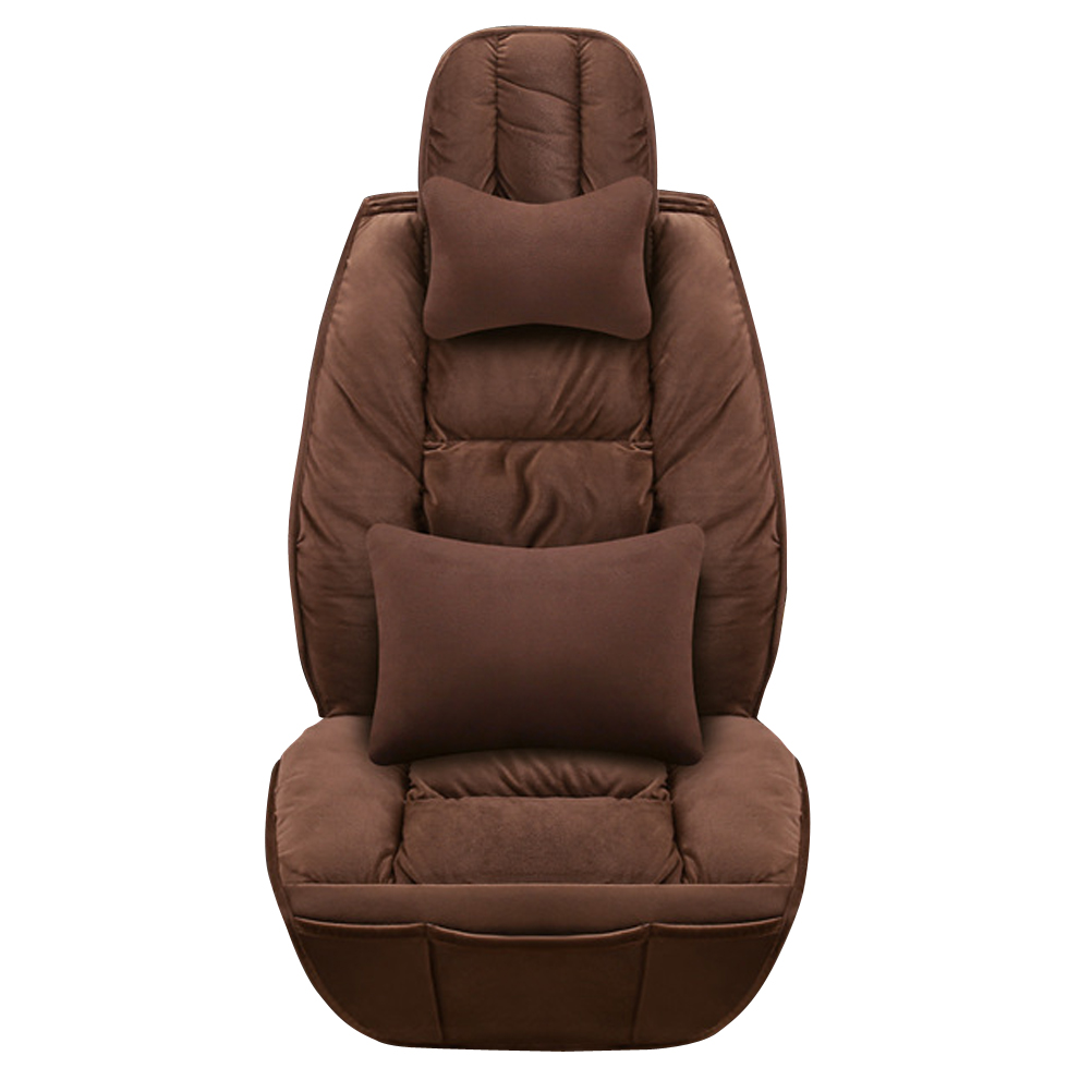 Doux en peluche synthétique laine seau siège couvre réel fourrure voiture coussin hiver élégant en peluche siège de voiture couvre