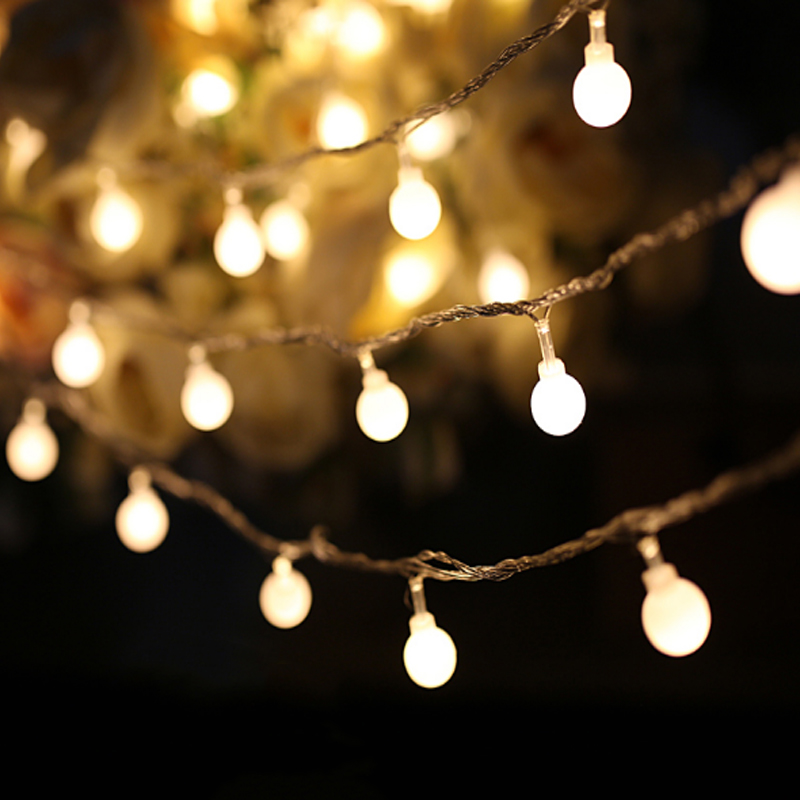 Faithful 35pcs 10m 50leds Ball Outdoor 220v/110v Led Christmas Tree Decorative Xmas String Lights Curtain Garlands Party With End Plug Selected Material Led Lighting