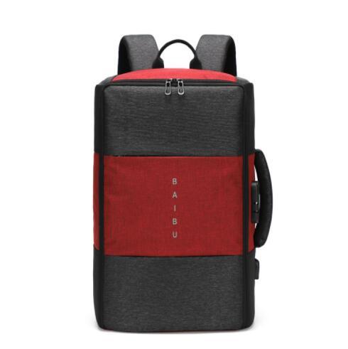 Мужской рюкзак, новинка, анти-вор, многофункциональный, водонепроницаемый, 17 дюймов, USB, рюкзак для ноутбука, дорожная сумка, мужской рюкзак для багажа - Цвет: Красный