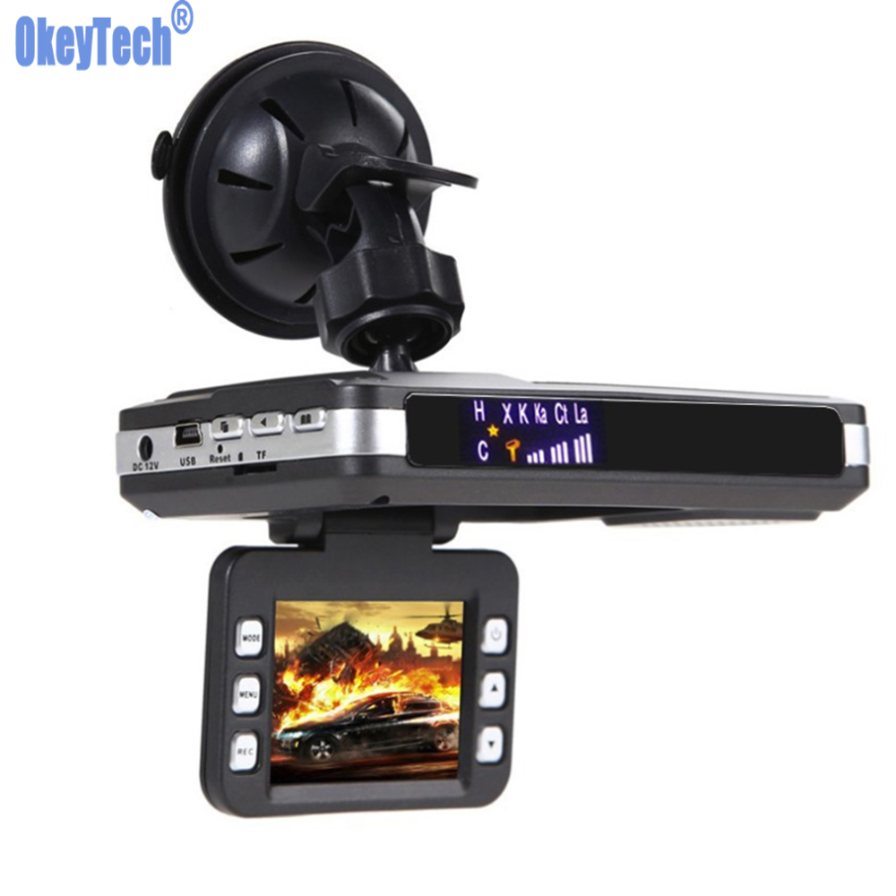 OkeyTech 3 IN 1 DVR Recorder Video Camera Car Radar Detector 720P Angle G-sensor With Russian Voice Speed Detector Night Vision