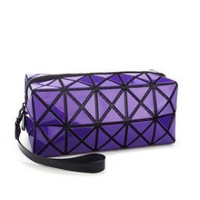 New Cosmetic Bag Geometric Zipper Laser Flash Leather Ladies Large Storage Package Women Diamond The Makeup