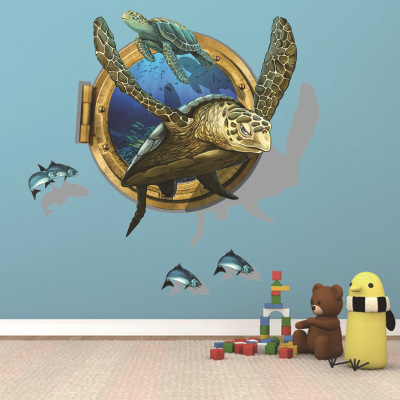 Creative 3d Wall Art Sea Turtle Wall Sticker Animal Kids Room Decoration Underwater World Home Decal Bathroom Wall Decor