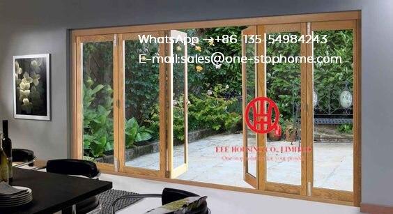 Accordéon porte coulissante raccord anodisé profil mince cadre aluminium portes coulissantes pliantes, réduction du son porte bi-pliante