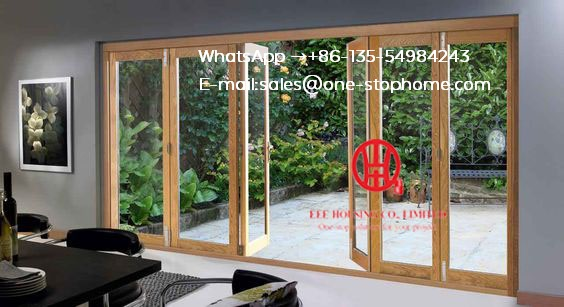 Accordion Sliding Door Fitting Anodised Slim Profile Frame Aluminium Folding Sliding Doors,Sound Reduction  Bi-folding Door