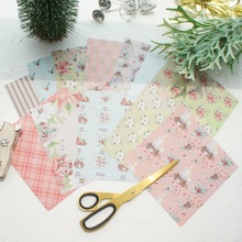 24 Sheets DIY 12 Style 15.2*15.2cm Christmas Flower Candle Theme Craft Paper Scrapbooking Creative Handmade Gift Use