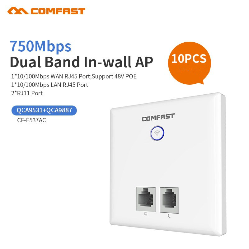 10pcs 750Mbps 86 Panel In Wall Wireless AP Router 220v WiFi Access Point 11AC In Door Wall AP IEEE Wireless Wifi Router Amplifie