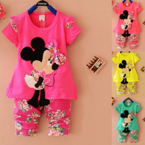 8a77089ac Summer 2014 Cartoon Minnie mouse clothes suits Baby Girls shirt +small  calico short pants Cute Kids tracksuits flower set