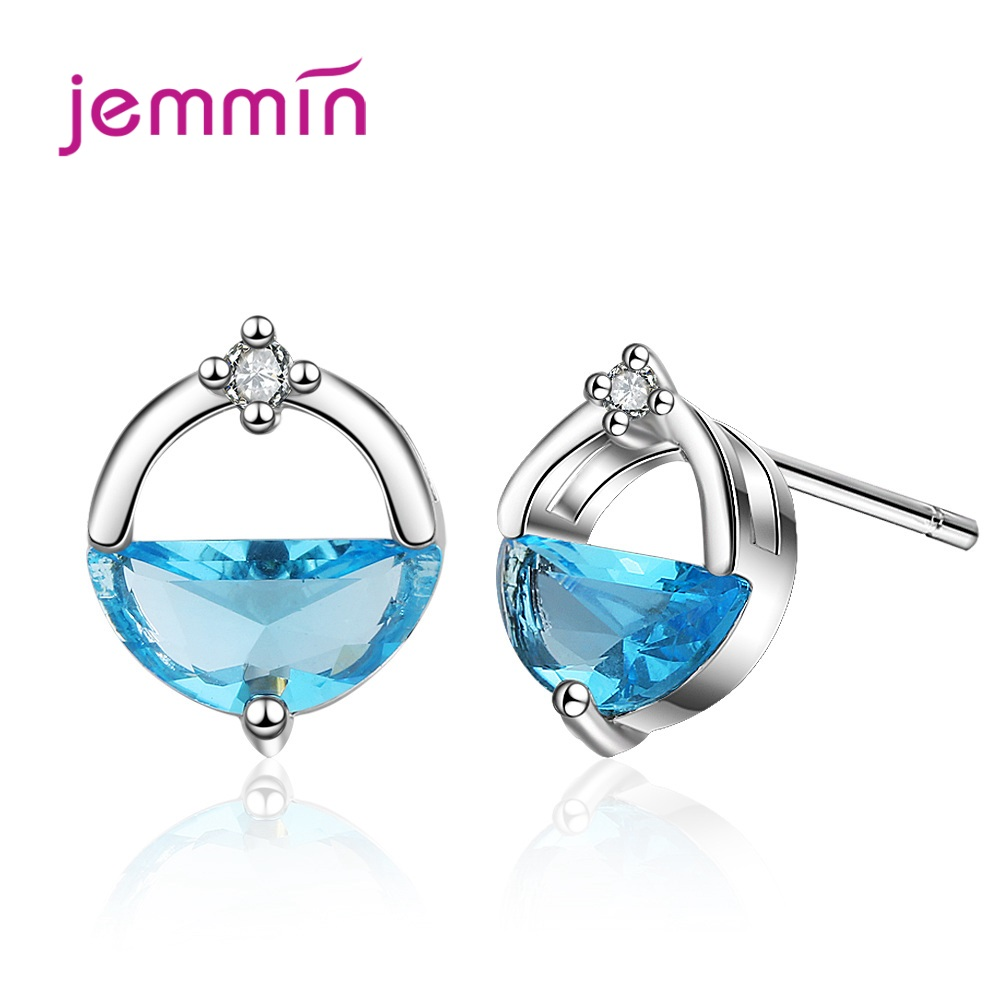 Latest Fashion Jewelry Two Color For Choice Blue Cubic Zirconia Round Stud Earrings Gor Women/Lady/Girls