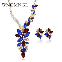 WNGMNGL 2018 Female Jewelry Sets Luxury Gold-color Crystal Necklace Earrings Set For Women Flower Leaf Wedding Fashion Jewelry bridal jewelry sets for women ab color crystal flower 12 style gold wedding necklace earrings set female party prom jewelry sets