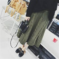 warm knit skirt 2017 fashion autumn winter apricot knitted skirt korean style army green women skirt thick long skirt black