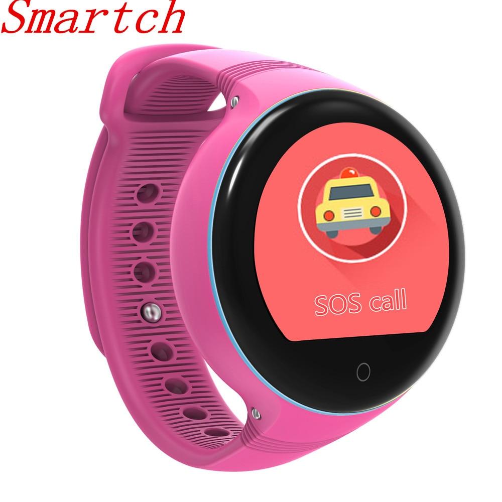 Smartch S668 Children Smart Watch IP54 Waterproof Round Screen GPS SOS Wristwatch Remote Viewfinder for Kids support SIM card PK цена 2017