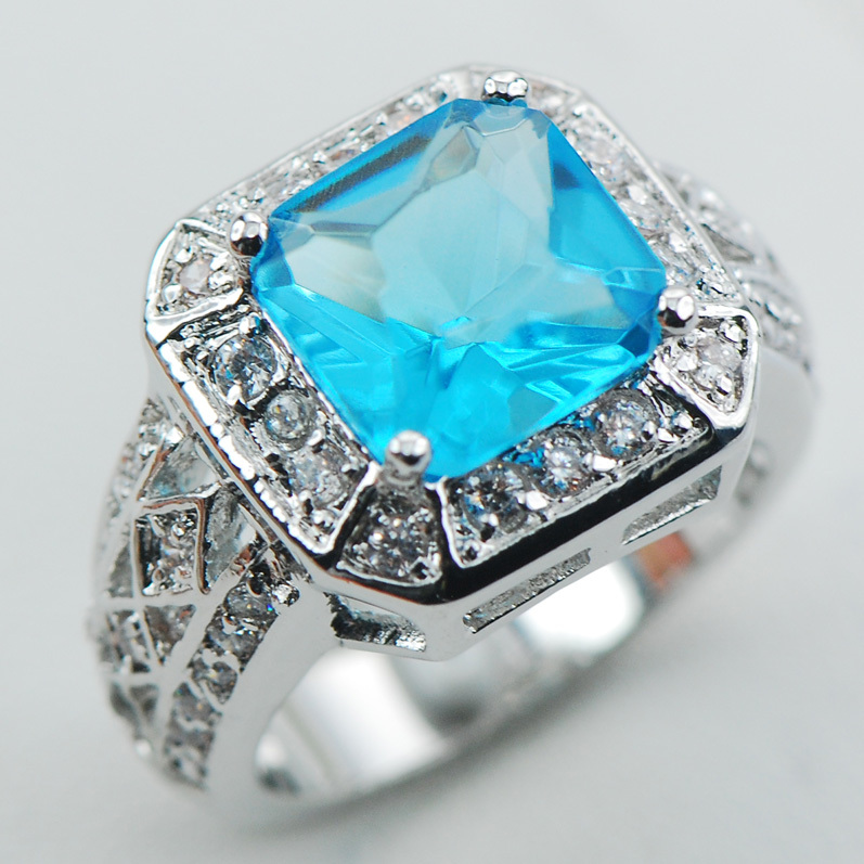 Simulated Aquamarine White Crystal Zircon 925 Sterling Silver Ring Size 6 7 8 9 10 F1071