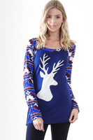 2017 Merry Christma Women T Shirts Long Sleeve Printed Deer T Shirts Women Tops Tee Shirts