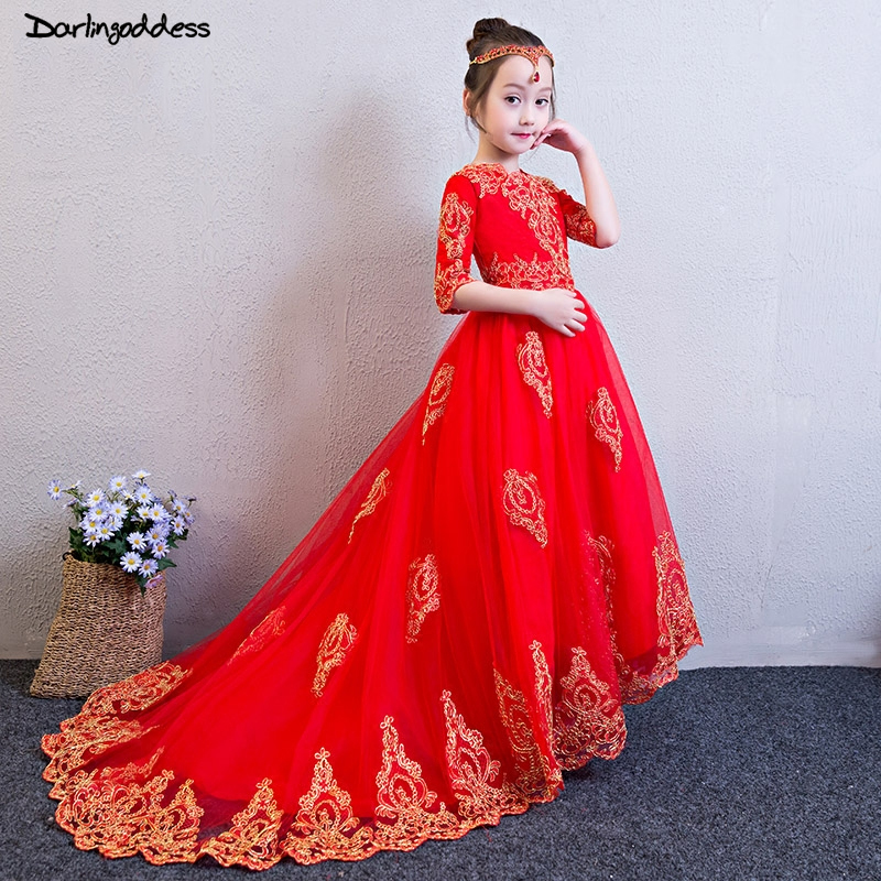 2019 Long Sleeves   Flower     Girl     Dresses   For Weddings Red Tulle Gold Lace First Communion   Dresses   For   Girls   Kids Pageant   Dress