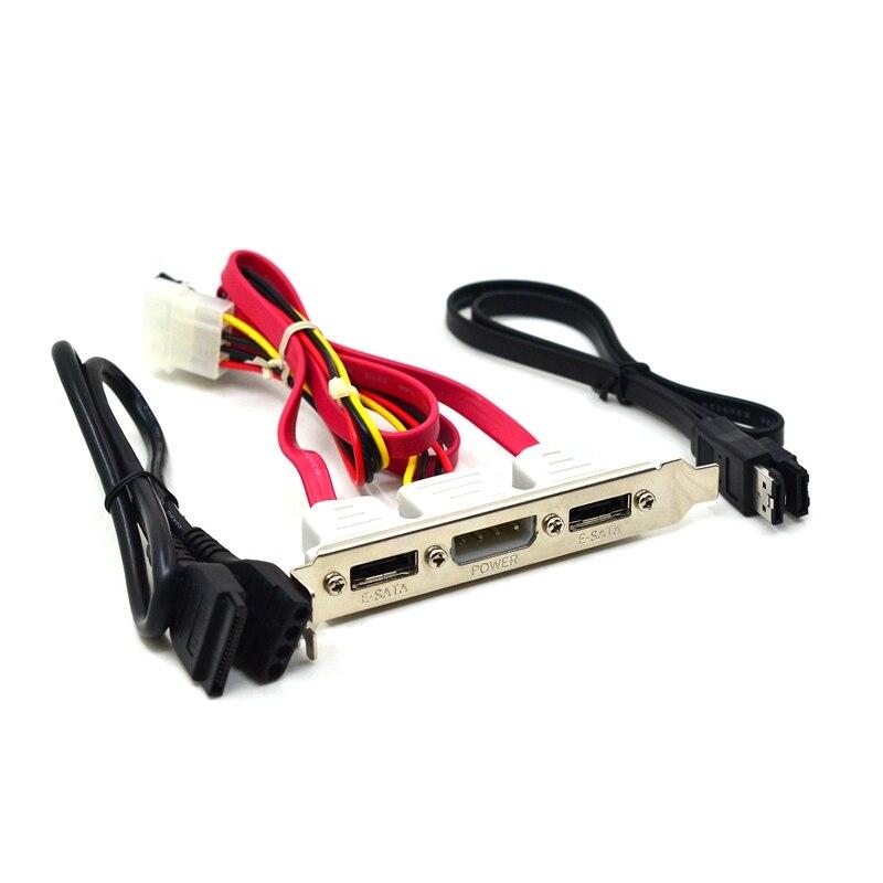 2 portas sata para esata + ide 4 pinos de alimentação pci pc computador suporte slot cabo 30cm 2ft conjunto externo 3 em 1
