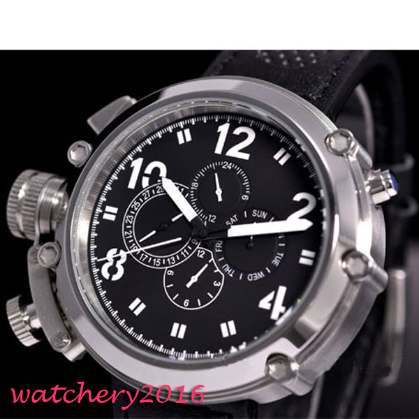 50mm parnis Black Dial Chronograph Military Mechanical Watches Mens Watch Top Brand Luxury Automatic Movement Men's Watch fashion parnis mechanial 50mm big face black dial automatic men s watch