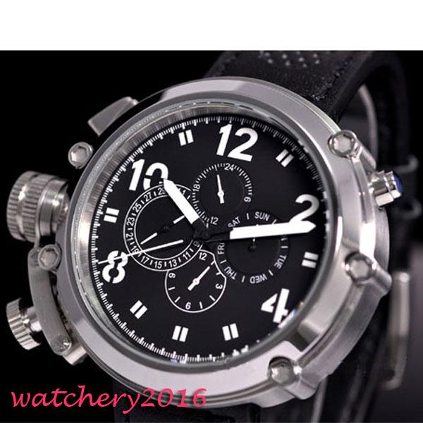 50mm parnis zwarte wijzerplaat chronograaf militaire mechanische - Herenhorloges