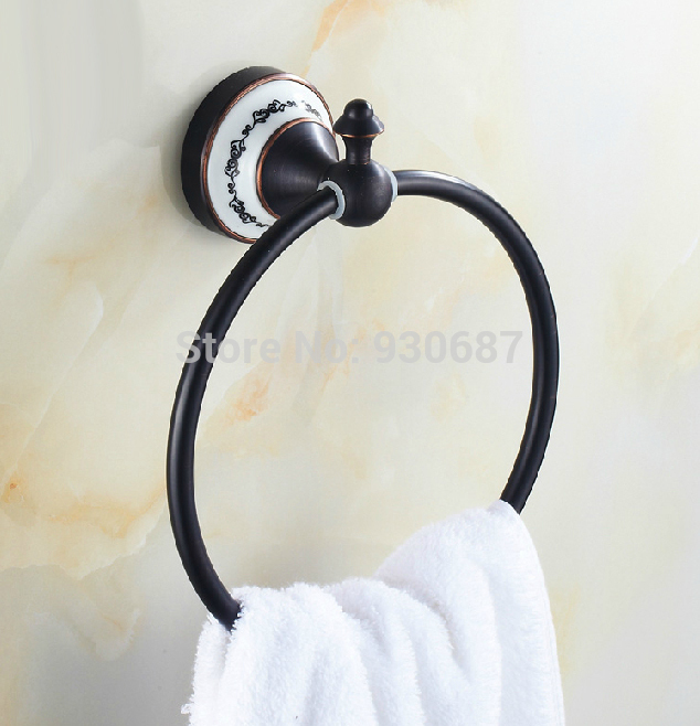 ФОТО Free Ship Beauty Oil Rubbed Bronze Bath Towel Rings Soild Brass Towel Bracket