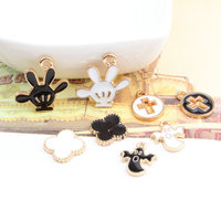 Wholesale 60PCs DIY Jewelry Alloy Charms Gold Tone Plated Kawaii Hand Cross Round Flower Charm Button Patch Sticker Craft