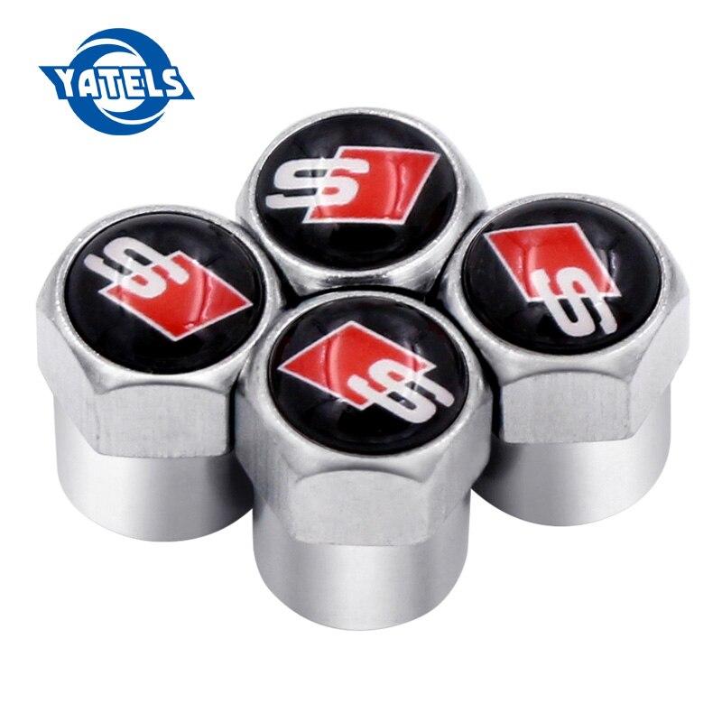 4pcs Car Styling Sline S Line Car Wheel Tire Valve Cap Stem Air Cover For Audi S3 S4 S5 S6 S8 Q5 Q7 A3 A4 A5 A6 A7 TT RS4 RS5