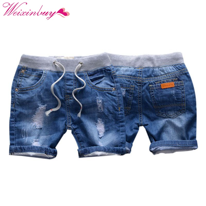 Hot Summer Ripped Jeans   Shorts   For Boy Style Denim Boy's Panties Jeans   Shorts   For Children 2-7 Years Children   Shorts