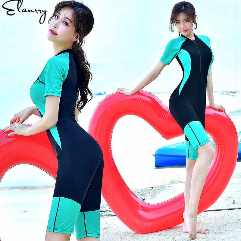 2018 Plus Ukuran Wanita Swimsuit One Piece Lengan Pendek Olahraga Baju Renang Pakaian Renang Wanita Bodysuit Mandi Menyelam Beachwear