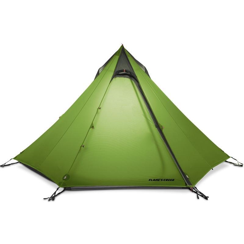 FLAME'S CREED 2-3Person pyramide tente de Camping 15D revêtement Silnylon couture 3 saisons scellée pas de poteau ultra-léger randonnée