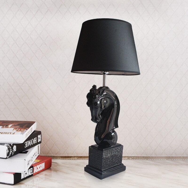 Modern Black White Horse Table Lamp Lustre Design Light Fixtures Living Room Bedroom Bedside Office Art Decoration Home Lighting