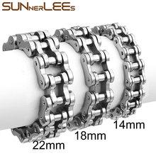 SUNNERLEES 316L Stainless Steel Bracelet Bangle Huge Biker Bicycle Motorcycle Link Chain Gold Black Silver Color Men Boy BC01