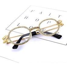 Vintage Small Round Diamond Sunglasses Women 2019 Brand Designer Fashion Steampunk Colorful Rhinestone Shades UV400 Oculos