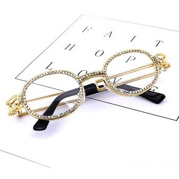 9bf6f67b3b Vintage diamante redondo gafas de sol de las mujeres 2019 marca diseñador  de moda Steampunk colorido del Rhinestone tonos UV400, ...