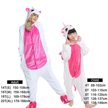 Unicornio Rosa pijamas para niños niñas de dibujos animados de invierno  animal ropa de dormir Bebé pijamas niños punto kigurumi . 596815f36593