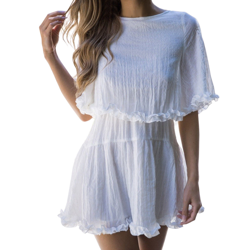 Trendzone 5/25 Women Solid Short Sleeve Ruffles Hem Summer Beach Boho Evening Party Mini Dress Free Shipping