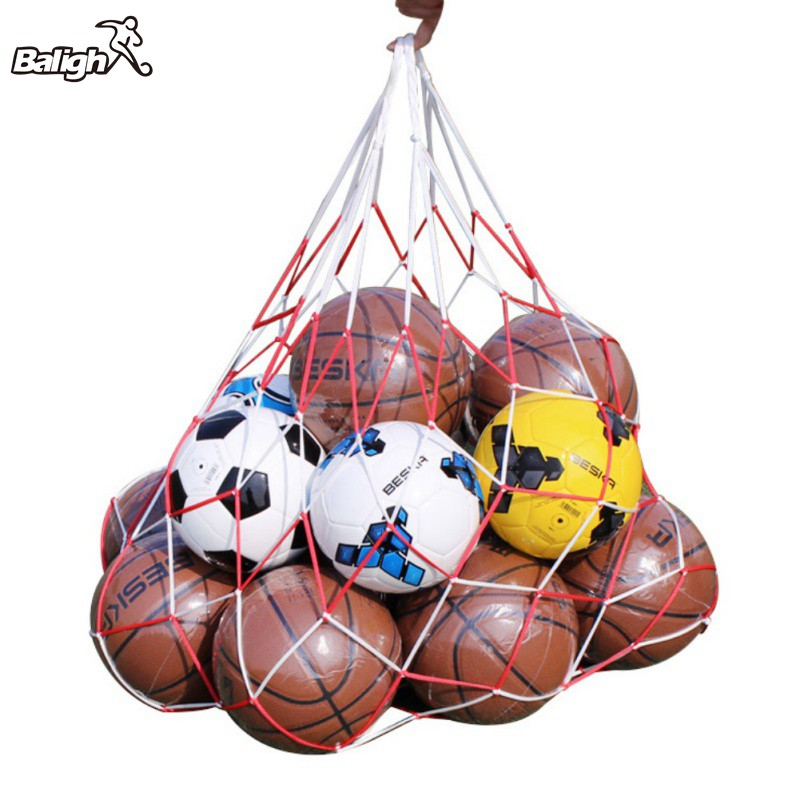 Portable Outdoor Sports Soccer Net Bags 10 Balls Carry Net Bag Football Balls Pockets Red And White Patchwork