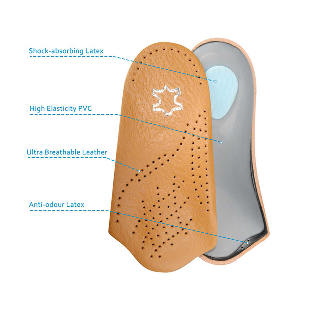 7136e35999 ... 3/4 Length Leather Orthotic Insoles for Flatfoot Heel Arch Support Pads  Half Orthopedic Shoe ...