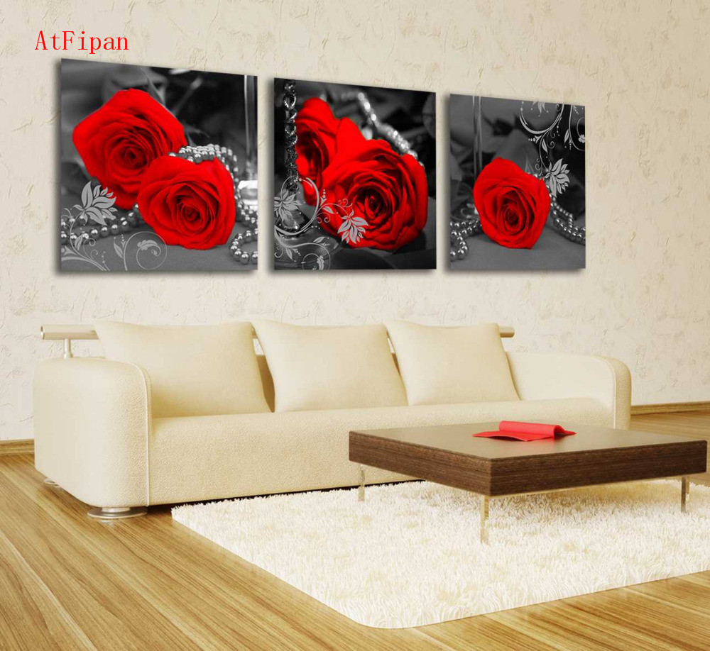 AtFipan Modern Red Flower And Sliver Nick Print Canvas Art Oil Painting Unframed Wall Picture For