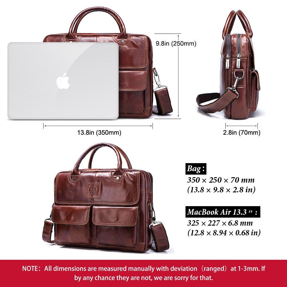 Bolsos de cuero genuino de los hombres primera capa de cuero de negocios portátil maletín bandolera bolso de cuero marrón bandolera - 6